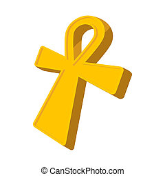 Egyptian Ankh icon, cartoon style
