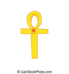 Egyptian Ankh icon in cartoon style