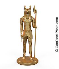 Egyptian Anubis Statue isolated on white background. 3d ...