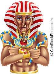 Illustration of an ancient egyptian pharaoh king icon or avatar