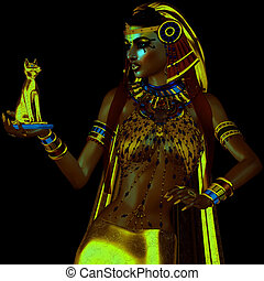 Egyptian Bast - Egyptian fantasy image of a goddess of...