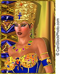 Egyptian beauty - Egyptian Beauty with bejeweled eye makeup,...