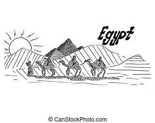 Egyptian black and white sketch with camels and desert