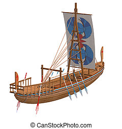 Egyptian Boat. 3D render with clipping path and shadow over...