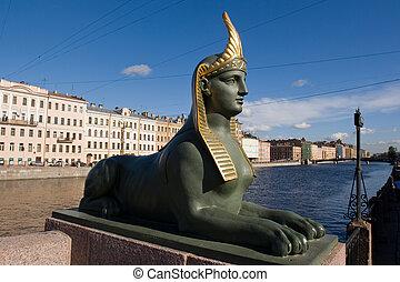 Egyptian bridge. Sphinx. - St. Petersburg. Fontanka River...