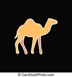 Egyptian camel icon, cartoon style