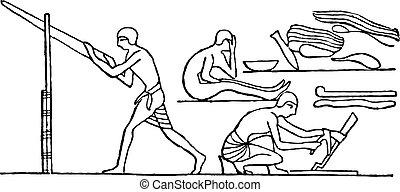 Egyptian carpenters, vintage engraving.