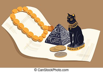 Egyptian cat, a pyramid and papyrus
