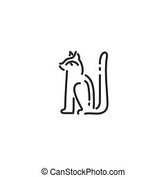 Egyptian cat god Bastet flat outline icon of Egypt