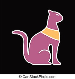 Egyptian cat icon, cartoon style