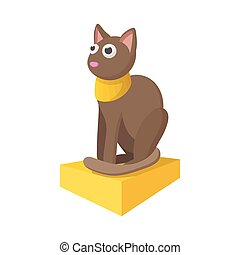Egyptian cat icon, cartoon style