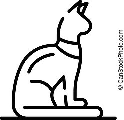 Egyptian cat icon, outline style