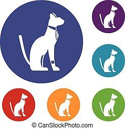 Egyptian cat icons set