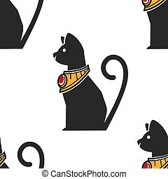 Egyptian cat in gold collar with ruby seamless pattern