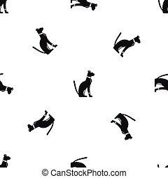 Egyptian cat pattern seamless black
