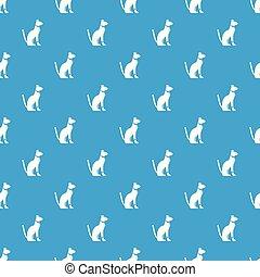 Egyptian cat pattern seamless blue