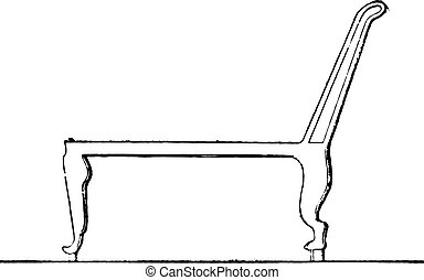 ... Egyptian Chair Toppled Backrest, Vintage Engraving.  .