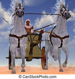 Egyptian Chariot - An Egyptian man takes his team of Arabian...