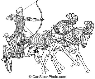 egyptian chariot black white