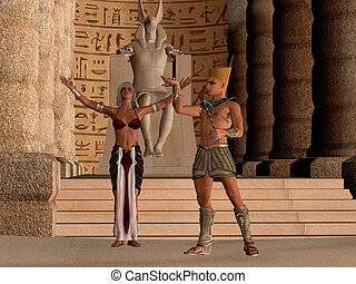 Egyptian Couple in Temple