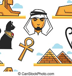 Egyptian culture and architecture seamless pattern traveling...