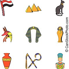 Egyptian culture icons set, cartoon style
