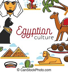 Egyptian culture poster with famous national symbols as frame
