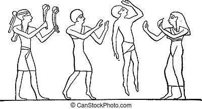 Egyptian dancers, vintage engraving.