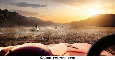 Egyptian desert at sunset