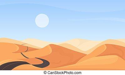 Egyptian desert natural landscape, cartoon deserted sand dunes, asphalt empty road through hills