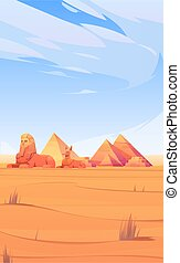 Egyptian desert with pyramids, sphinx and Anubis