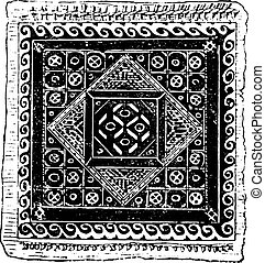 Egyptian embroidery, vintage engraving.