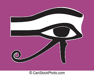 Egyptian Eye of Horus - ancient religious symbol, vector illustration