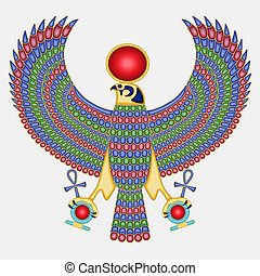 Egyptian falcon pectoral, ancient historical jewel, isolated