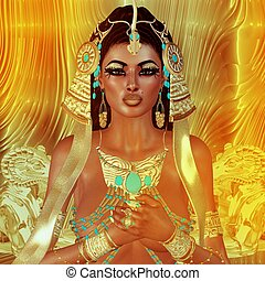 Egyptian Fantasy Woman - Egyptian woman,beads,beauty and...