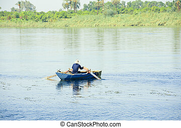 Egyptian fisherman on the Nile