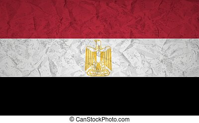 Egyptian flag with the effect of crumpled paper and grunge