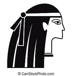 Egyptian girl icon, simple style