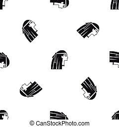 Egyptian girl pattern seamless black