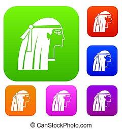 Egyptian girl set color collection