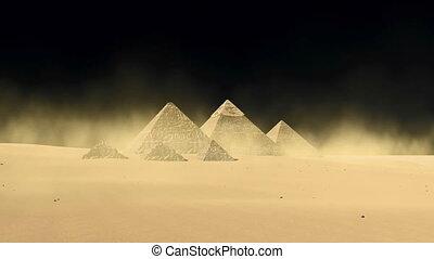 Egyptian Giza pyramids on black background 4K - Famous...