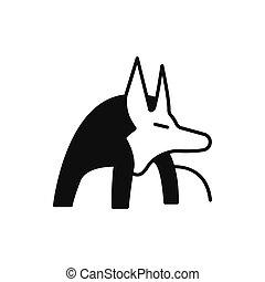 Egyptian god Anubis icon, silhouette style