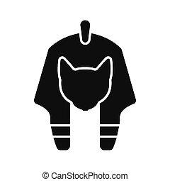 Egyptian god icon, silhouette style