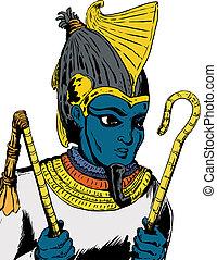 Egyptian God Osirus - Illustration of Osiris, the Egyptian...