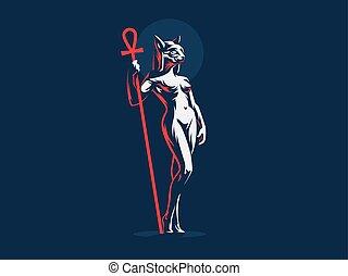 Egyptian goddess Bastet. Cat. Woman. Vector