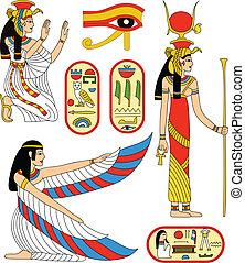 Egyptian goddess Isis - Vector collection - Egyptian goddess...