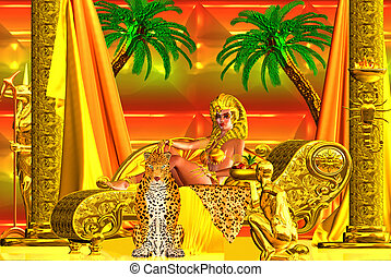 Egyptian goddess lying down. - Egyptian Dreams. A beautiful...