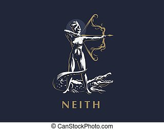 Egyptian goddess Neith. Archer. Crocodile.