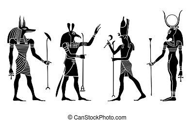 Various Egyptian gods and goddess. Anubis, Seth, Hathor, Horus.