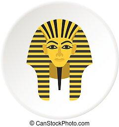 Egyptian golden pharaohs mask icon circle - Egyptian golden...